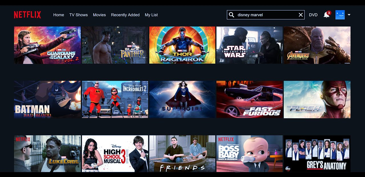 Netlfix streaming video of Disney, Warner Bros Media, and Marvel content